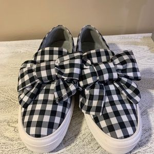 NWOB Nine West Onosha Bow Slip On Plaid Sneaker